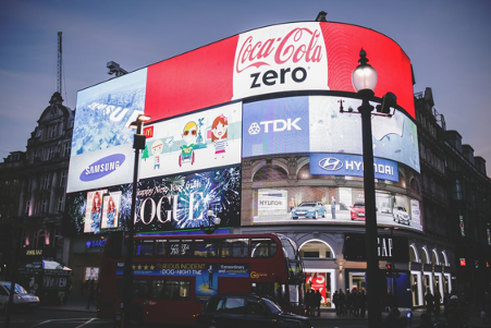 Advertising boards of various brands in public