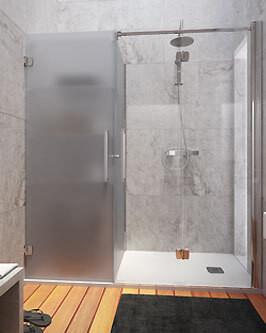 """création d'une douche fermée et son rangement vitrage """"acide"""""""