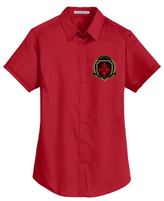 SH Port Authority L664-Ladies Short Sleeve SuperPro Twill Shirt(Red)