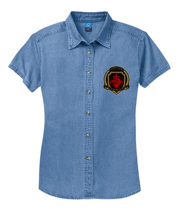 SH Port &Company LSP11-Ladies Short Sleeve Value Denim Shirt(FD)