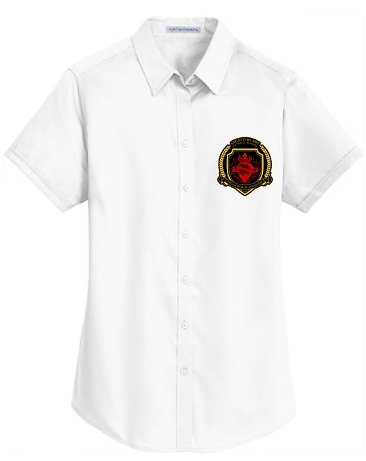 SH Port Authority L664-Ladies Short Sleeve SuperPro Twill Shirt(White)