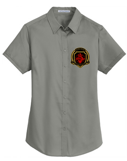 SH Port Authority L664-Ladies Short Sleeve SuperPro Twill Shirt(Monumental Gray)