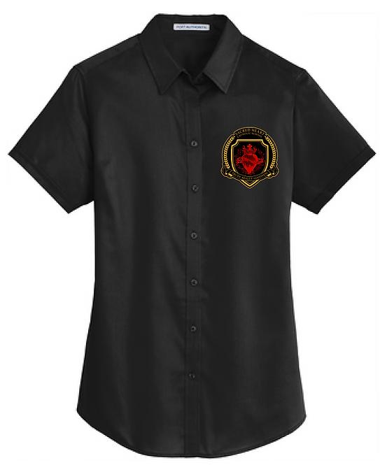 SH Port Authority L664-Ladies Short Sleeve SuperPro Twill Shirt(Black)