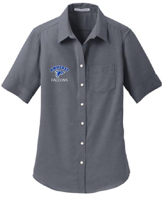 AS Port Authority L659 Womens Short Sleeve Oxford Shirt (Black)