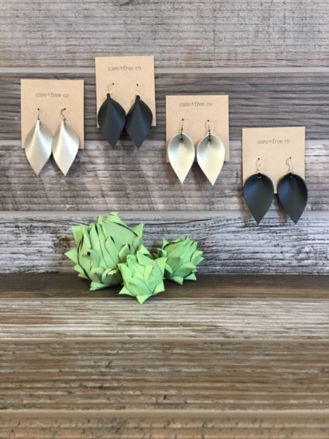 4 leather earrings