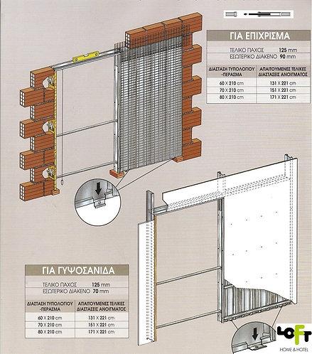 Μεταλλικό Κιβώτιο για πόρτα συρόμενη εσωτερικά του τοίχου