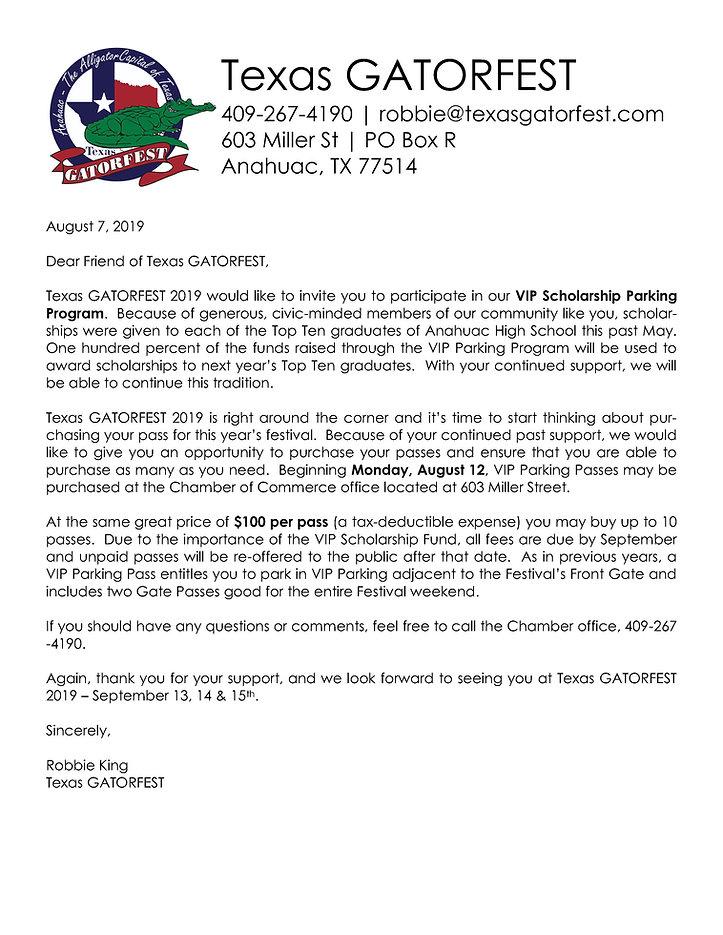 2019 Texas GATORFEST VIP Scholarship Par