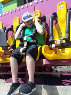 Jake Wilson Testing His Nerves of Steel on the Carnival Rides (Photo by Stephanie Wilson)