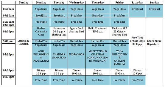 Yoga Retreat in Morocco Schedule
