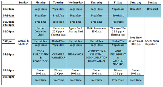 Yoga Retreat in Morocco Schedule