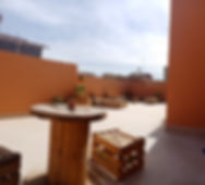 Rooftop terrace in our hostel in Taghazout Bay