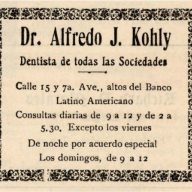 Dr. Alfredo J. Kohly, Second President of the Círculo Cubano de Tampa. Prominent dentist in Ybor City. (Courtesy of USF Special Collection Archives)