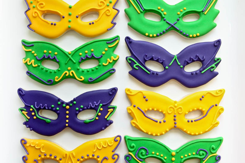 Mardi Gras Mask Cookies Iced