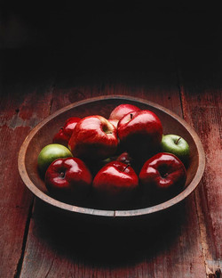Apples In Old Wood Bowl