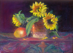Sunflowers and a Pomegranate