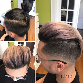 Lift twice, tone the hair,  and did a root shadow.jpg From night to day in 3 hours of patient on this young man.jpg