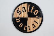 Salto Mortale carved wood, paint  97 cm diameter 5cm depth