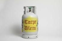 Carpe Diem, 2018 Embroidery on metal gas tank