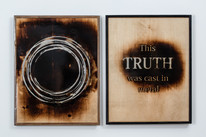 This Truth was cast in metal (diptych) carved wood, metal, epoxy 53X43x4cm each part