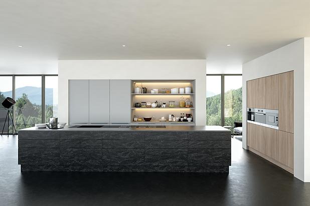 valore evora stone graphite, light grey and urban oak kitchen.png