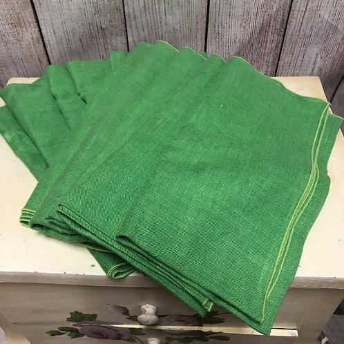 10 Oversized Green Napkins