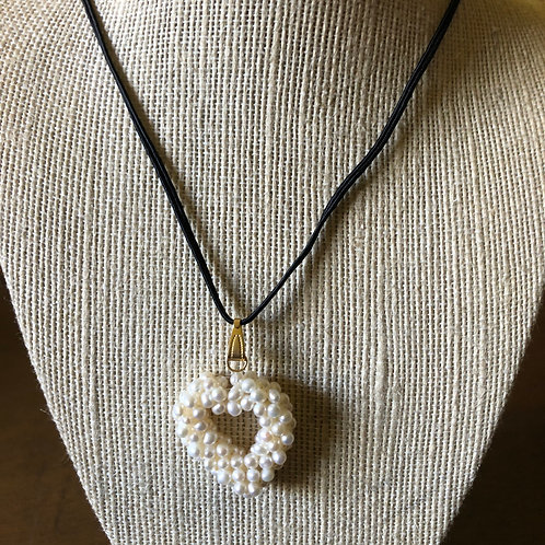 Black Necklace with Faux Pearl Heart