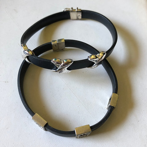 Pair of Leather & Silver Bracelets