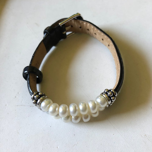 Honora Leather & Pearl Bracelet