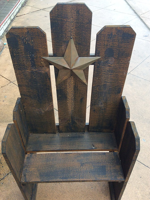 Rustic Wooden Bench with Metal Star