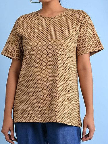 Dabu Printed Beige Organic Dye T-shirt