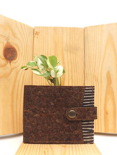 Vegan Leather and Brown Dabu Print Men's wallet