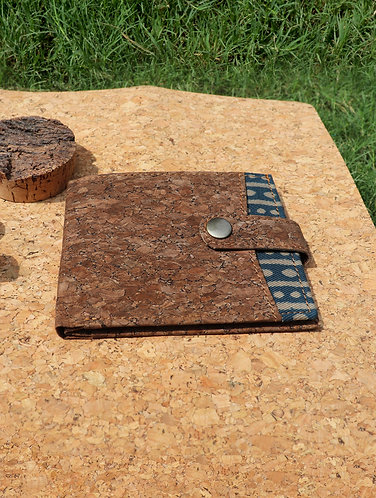 Vegan Leather and Rust Dabu Print men's wallet