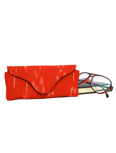 Red Ikat Weave Cotton Spectacles Cover