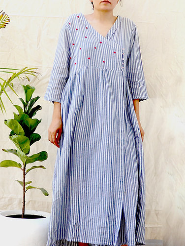 Navy stripes Hand Emb. Organic Cotton Angrakha Dress