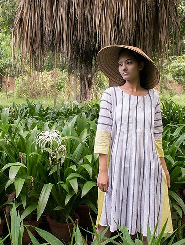 Grey white  striped Hand Emb. Organic cotton dress
