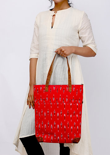 Vegan Leather and Red Ikat Tote Cum sling  Bag