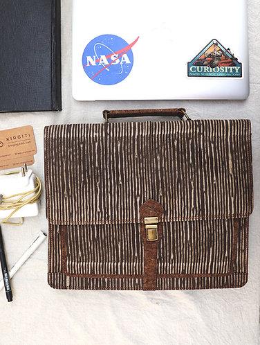 Brown Vegan Leather and Dabu Print Laptop Bag