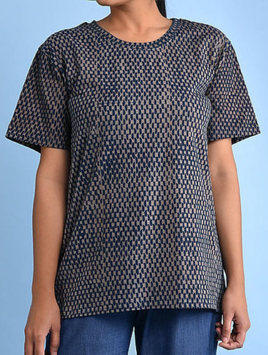 Dabu Printed Navy Organic Dye T-shirt