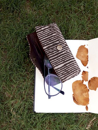 Brown Stripes Dabu Spectacles Case