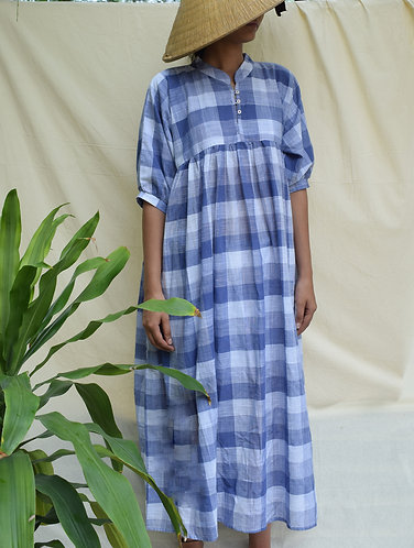Big Checkered Loose Fit Organic Cotton Dress