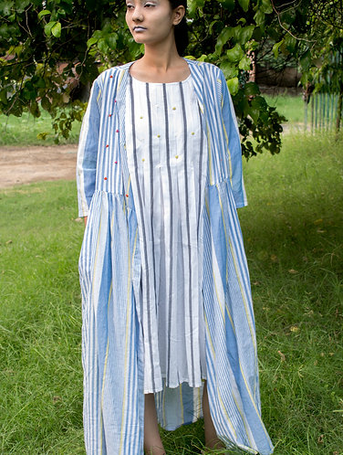 Blue stripes Hand Emb. Angrakha Cotton Dress