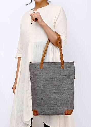 Vegan Leather and Wool Tote Cum Sling  Bag