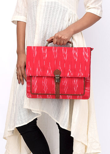 Vegan Leather and Red Ikat Laptop Bag