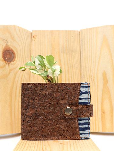 Vegan Leather and Indigo  Dabu Printed Men's Wallet