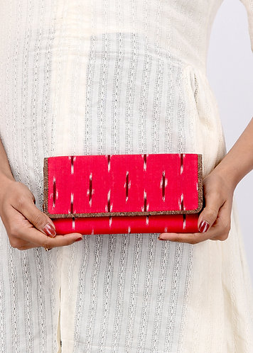 Red Ikat and Vegan Leather Women's Purse