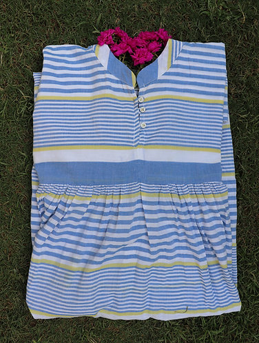 Blue Striped Loose Fit Organic Cotton Dress