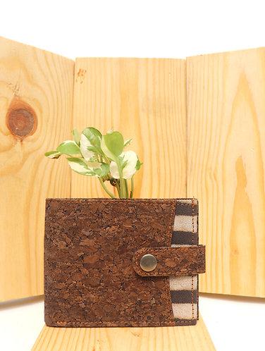 Vegan Leather and Brown stripes Dabu Print Men's wallet