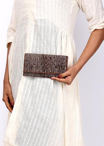 Vegan Leather and Brown Dabu Print Purse
