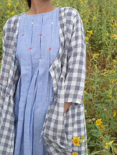 Grey checkered Hand Emb. Oraganic Cotton Angrakha Dress