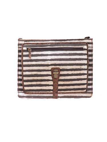 Vegan leather and Dabu print Brown stripes Laptop Bag